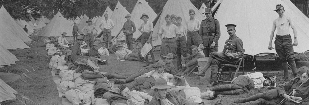 Cadets at camp at Aldershot in 1905