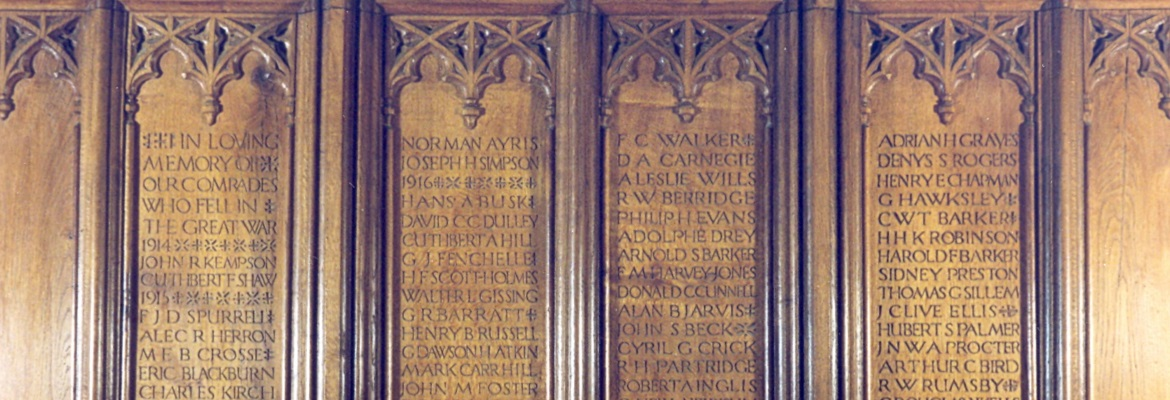 Carved oak memorial screen in the School Chapel